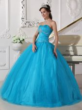 Teal Tulle Ruch Cute Quinceanera Ball Gowns Strapless Beaded