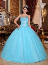 Baby Blue Ruch Cute Sweet 16 Dress Beading for Quinceanera