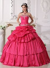 Detachable Hot Pink Quinceanera Dress Taffeta Beading Ruch