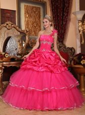Hot Pink One Shoulder Beading and Pick-ups Quinceanera Dress