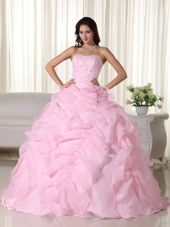 2013 Pink Strapless Organza Beading Quinceanera Dress