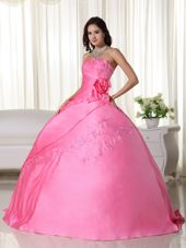 Strapless Pink Beading Quinceanera Dress with Appliques