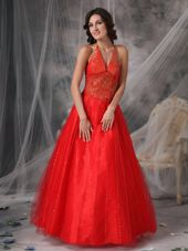 Beading Red Appliques Halter Long Prom Dress A-line