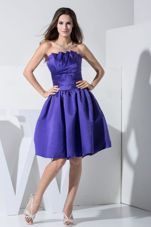 Purple Simple Strapless Prom Cocktail Dress Knee-length
