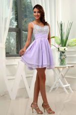 Beading Short A-Line Straps Chiffon Mini-length Prom Cocktail Dress Lilac