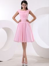 Bateau Baby Pink Short Prom Dress With Ruching