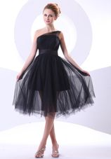 One Shoulder Black Short A-line 2013 Prom Dress