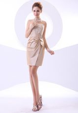 Short Beading Strapless Mini-length Champagne 2013 Prom Dress