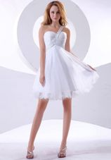 Beading One Shoulder Organza Short 2013 Prom Dress