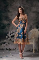 Printing Prom Dress Colorful A-line Knee-length Strapless