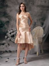 Sweetheart Champagne Prom Dress with High-low Ruche