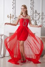 Red Prom Homecoming Dress Strapless Beading High-low