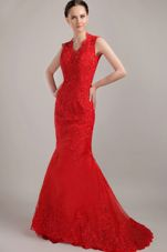 Straps Red Mermaid V-neck Brush Lace and Beading Prom Dress