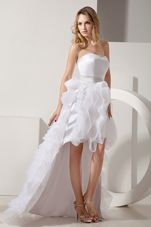 High-low Satin and Organza Ruffles Prom Dress