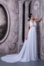 Sexy V-neck Beading Wedding Dress 2013 Court Train Chiffon