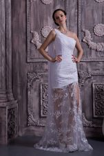 Customize Beading Wedding Dress Column One Shoulder Train Lace