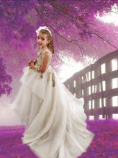 Scoop White Tulle Zipper Flower Girl Dresses for Less Long Sleeves With Train Court Train Appliques