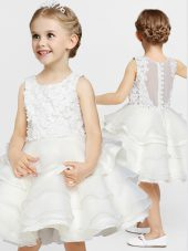 Ideal Organza Scoop Sleeveless Clasp Handle Appliques and Ruffles Flower Girl Dress in White