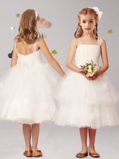 Exquisite White Flower Girl Dress Party and Quinceanera and Wedding Party and For with Appliques and Ruffled Layers and Bowknot Straps Sleeveless Zipper