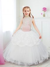 Halter Top Tulle Sleeveless Floor Length Flower Girl Dresses and Beading and Lace