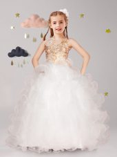 Cheap Halter Top Organza Sleeveless Floor Length Flower Girl Dresses for Less and Beading and Ruffles and Hand Made Flower