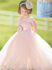 Artistic Tulle Straps Sleeveless Zipper Bowknot and Hand Made Flower Toddler Flower Girl Dress in Baby Pink