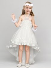 Pretty A-line Flower Girl Dresses for Less White Halter Top Organza Sleeveless High Low Zipper