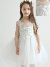 Scoop Sleeveless Zipper Flower Girl Dress White Tulle