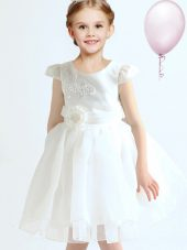 Scoop Cap Sleeves Mini Length Appliques and Bowknot and Hand Made Flower Zipper Flower Girl Dresses for Less with White