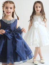 Edgy Scoop Sleeveless Zipper Knee Length Beading and Bowknot Flower Girl Dresses
