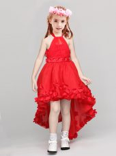 Halter Top High Low A-line Sleeveless Red Flower Girl Dresses for Less Zipper