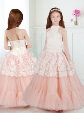 Decent White and Peach Flower Girl Dresses Party and Quinceanera and Wedding Party and For with Beading and Lace Halter Top Sleeveless Zipper