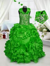 Edgy Ball Gowns Party Dresses Halter Top Taffeta Sleeveless Floor Length Zipper