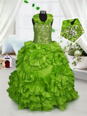 Beautiful Halter Top Olive Green Zipper Child Pageant Dress Beading and Ruffles Sleeveless Floor Length