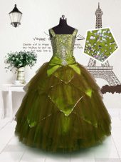 Affordable Floor Length Ball Gowns Sleeveless Brown Little Girl Pageant Gowns Lace Up