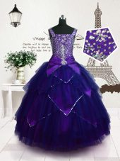 Glorious Sleeveless Tulle Floor Length Lace Up Little Girls Pageant Gowns in Purple with Beading and Belt