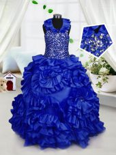Halter Top Floor Length Royal Blue Kids Formal Wear Taffeta Sleeveless Beading and Ruffles