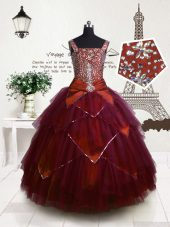 Fuchsia Party Dress for Toddlers Party and Wedding Party and For with Beading and Belt Straps Sleeveless Lace Up