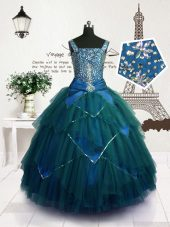 Adorable Straps Sleeveless Party Dress Floor Length Beading and Belt Teal Tulle