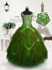 Unique Olive Green Lace Up Straps Beading and Belt Womens Party Dresses Tulle Sleeveless