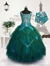 Teal Straps Neckline Beading and Belt Party Dress Wholesale Sleeveless Lace Up