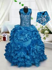 Unique Halter Top Teal Ball Gowns Beading and Ruffles Little Girls Pageant Gowns Zipper Taffeta Sleeveless Floor Length