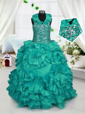 Popular Halter Top Floor Length Ball Gowns Sleeveless Turquoise Girls Pageant Dresses Zipper