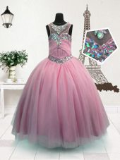 Comfortable Pink Scoop Zipper Beading Little Girls Pageant Dress Sleeveless