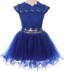 Scoop Blue Cap Sleeves Tulle Zipper Flower Girl Dresses for Party and Wedding Party