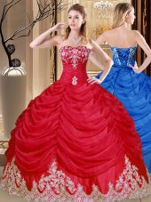 Luxurious Coral Red Sweetheart Neckline Appliques and Pick Ups Quinceanera Gowns Sleeveless Lace Up