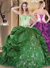 Green Sleeveless Embroidery Floor Length Sweet 16 Dress