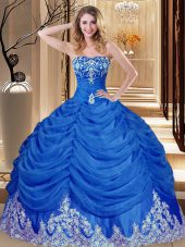 Royal Blue Lace Up Quince Ball Gowns Appliques and Pick Ups Sleeveless Floor Length