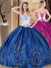 Luxurious Sleeveless Lace Up Floor Length Embroidery Quince Ball Gowns