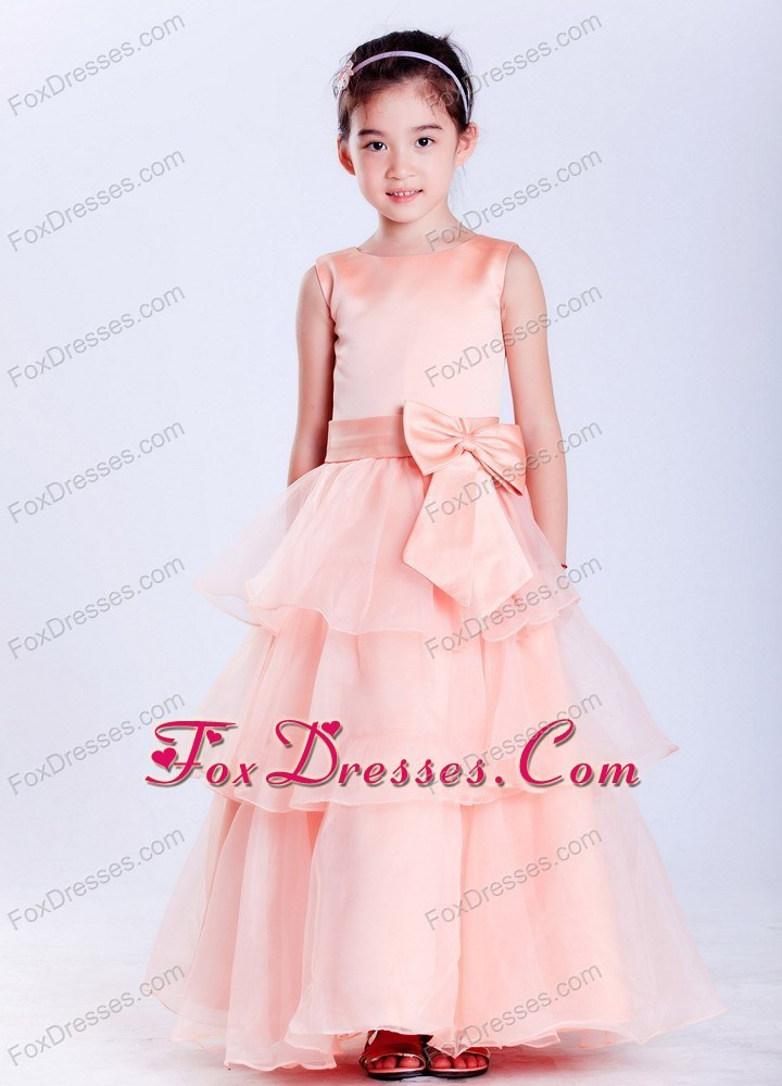 A-line Scoop Taffeta and Organza Bow Flower Girl Dress Ankle-length